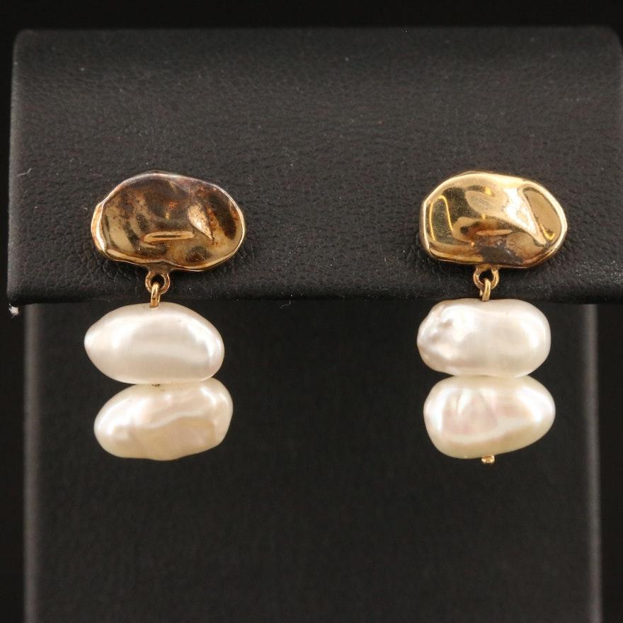 14K Baroque Pearl Dangle Earrings