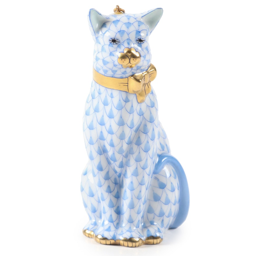 """Herend First Edition Blue Fishnet """"Cat with Ribbon"""" Porcelain Ornament, 1996"""