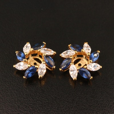 Cubic Zirconia and Blue Glass Earring Jackets