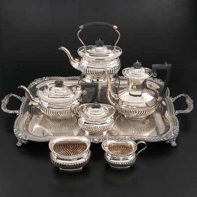 William Adams Silver Plate Tea and Coffee Set with Goldfelder Footed Tray