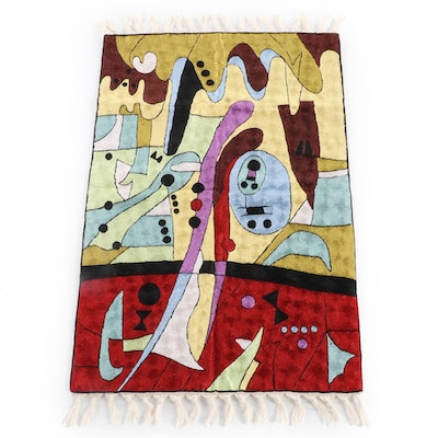 2'0 x 3'5 Indian Kashmiri Hand-Embroidered Rug Inspired by Wassily Kandinsky