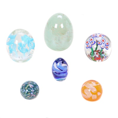 Murano Style Blown Glass Paperweights Featuring Joe Rice
