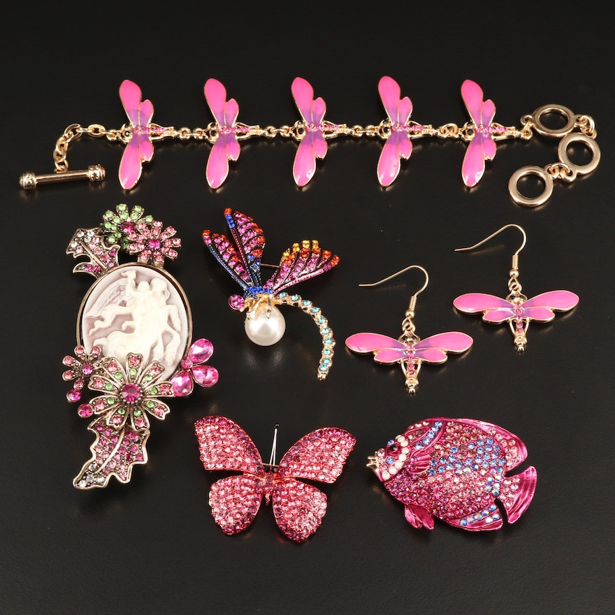 Rhinestone Jewelry Selection Featuring Butterfly and Dragonfly Designs