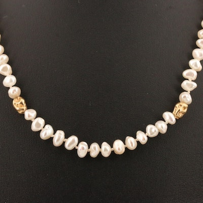 Endless Baroque Pearl Necklace with 14K Accent Beads