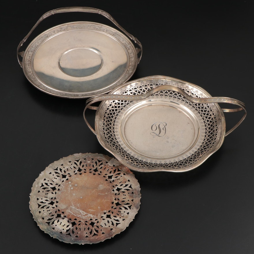 George A Henckel and Whiting Sterling Silver Baskets and Silver Plated Trivet