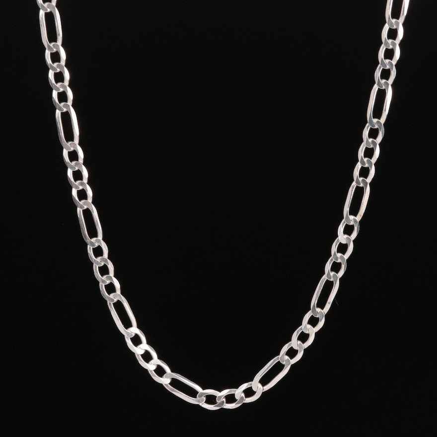 Sterling Silver Figaro Style Chain Necklace