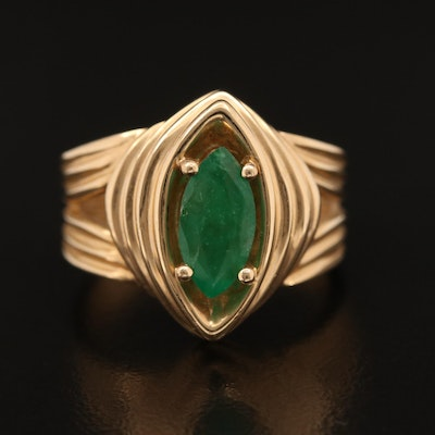 14K Emerald Fluted Navette Ring