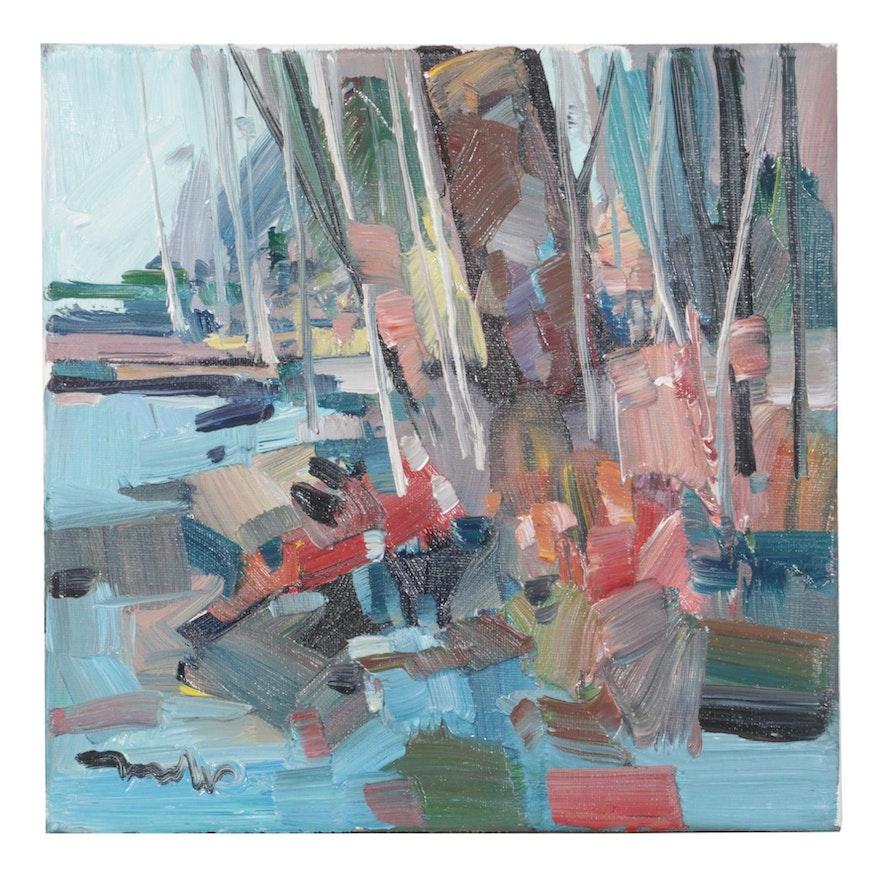 "Jose Trujillo Oil Painting ""Little Lake,"" 2020"