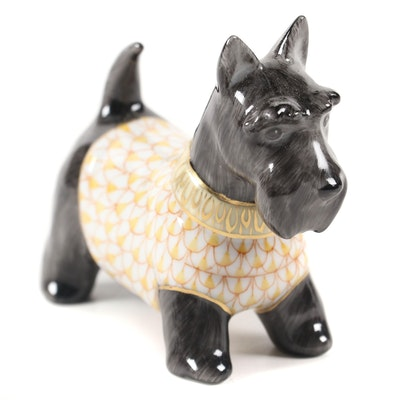 "Herend Black with Butterscotch Fishnet ""Scottie McDuff"" Porcelain Figurine"
