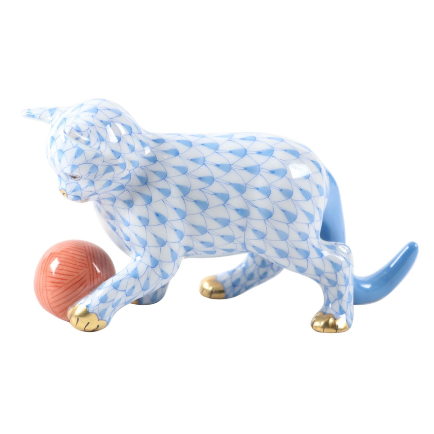 "Herend Blue Fishnet with Gold ""Kitten with Yarn"" Porcelain Figurine"