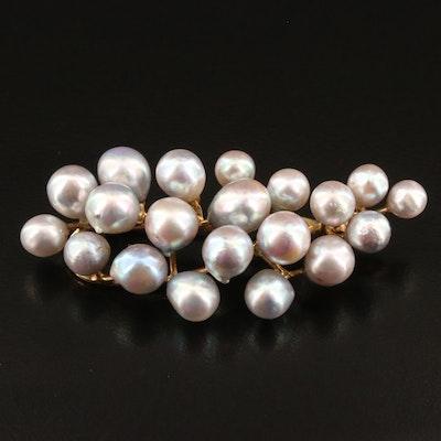 Vintage 14K Baroque Pearl Cluster Brooch