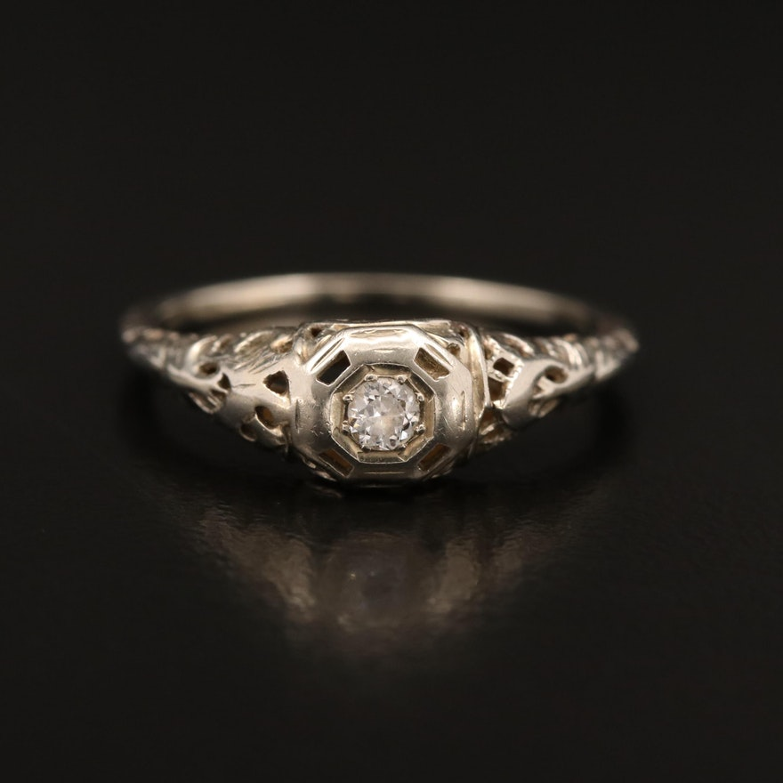 Art Deco 18K Diamond Ring with Foliate Pattern