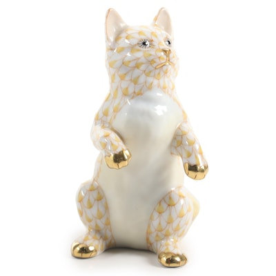 "Herend Butterscotch Fishnet with Gold ""Standing Kitten"" Porcelain Figurine"