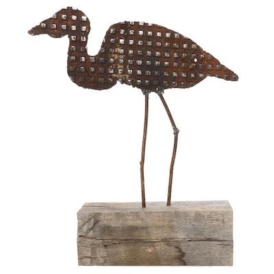 Tim Kaulen Welded Iron Heron Sculpture, 21st Century