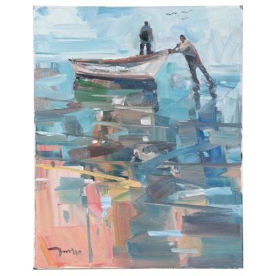 "Jose Trujillo Oil Painting ""Coming Back to Shore,"" 2020"