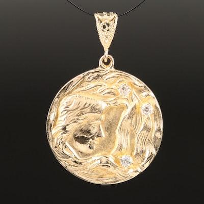 14K and Diamond Art Nouveau Inspired Medallion