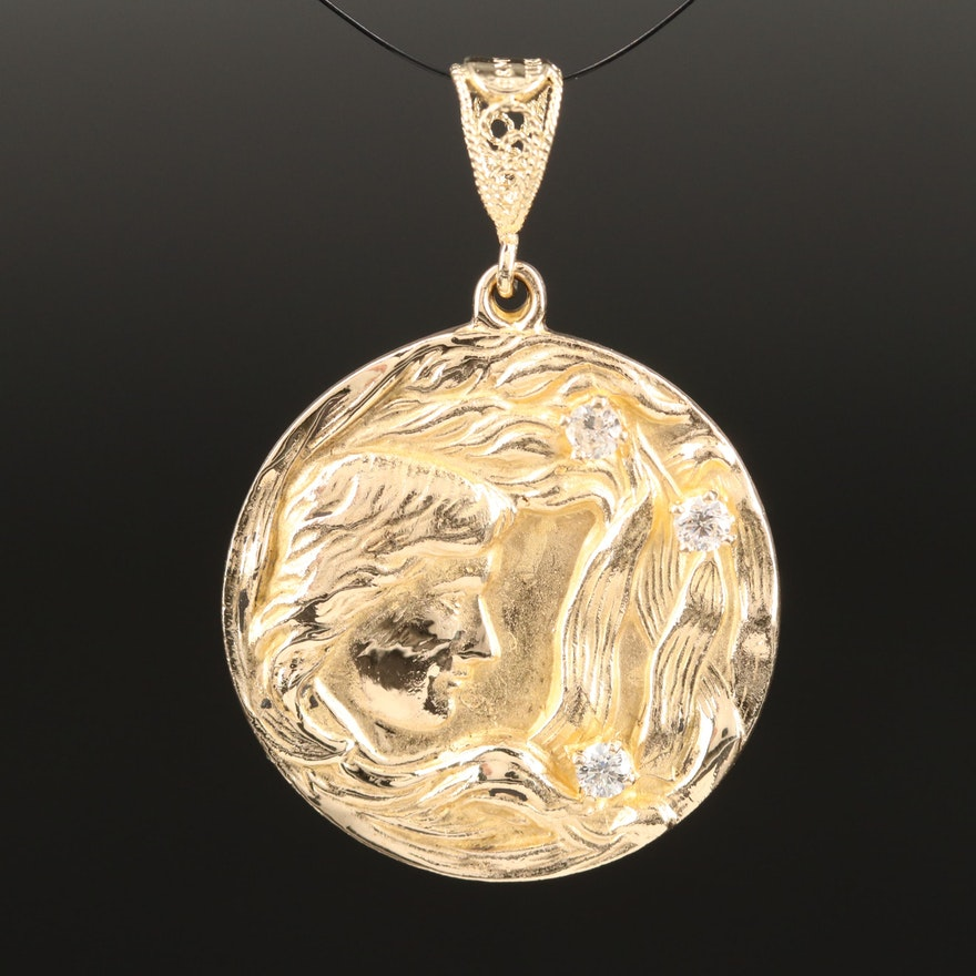 14K and Diamond Art Nouveau Inspired Medallion