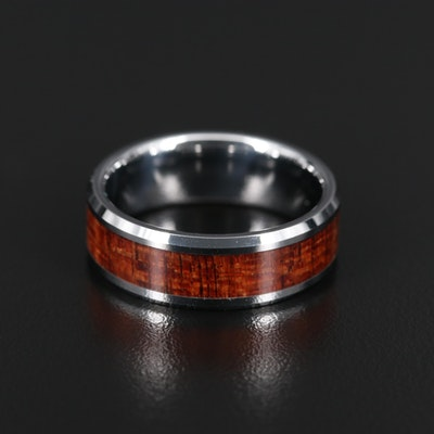 Tungsten Band with Inlaid Wood Accent