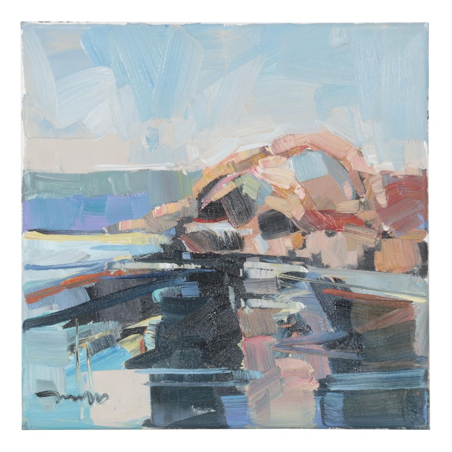 "Jose Trujillo Oil Painting ""Cliff Side,"" 2020"
