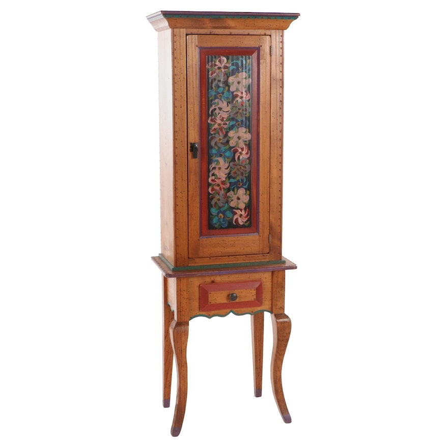 David Marsh Paint-Decorated Pine Cabinet on Stand