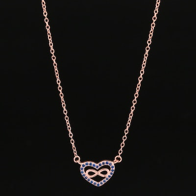 Sterling Silver Spinel Eternal Love Heart Necklace