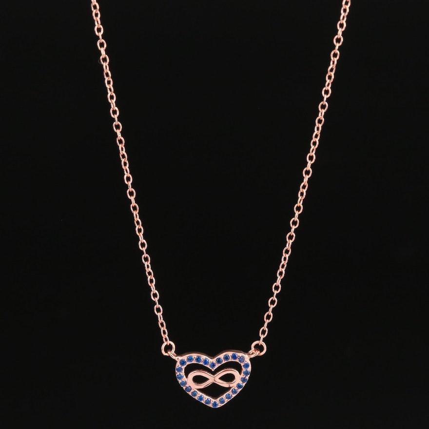 Sterling Silver Spinel Eternal Love Heart Necklace