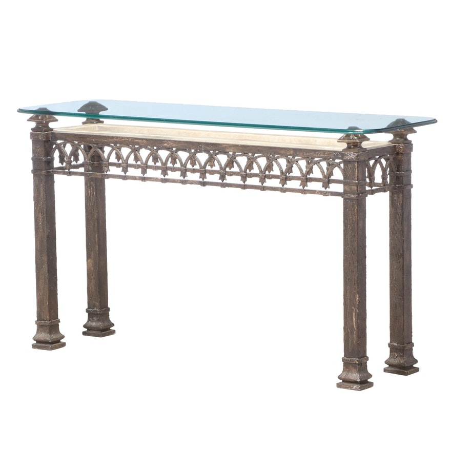 Bronze Patinated Metal, Stone-Veneered, and Glass Top Console Table