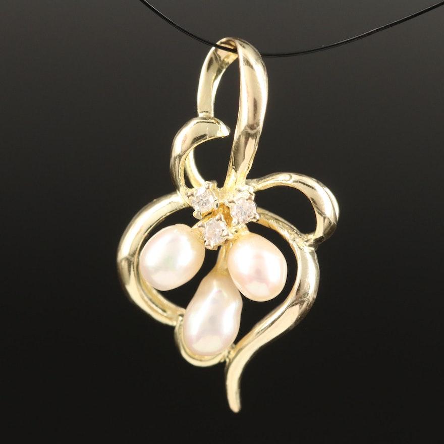 14K Pearl Pendant and Diamond Pendant