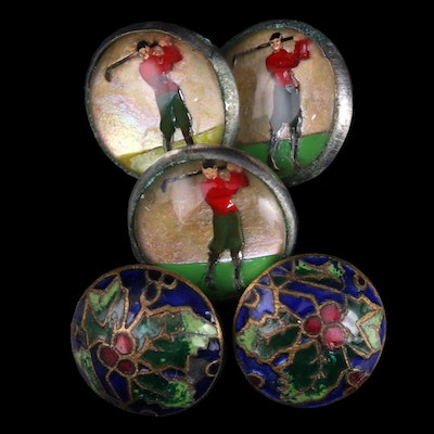 Goofus Glass Golfer and Champleve Holly Leaf Metal Buttons