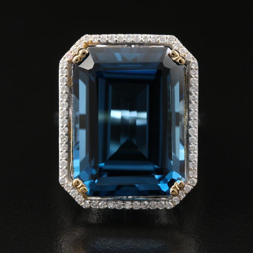 14K 27.28 CT London Blue Topaz and Diamond Halo Ring