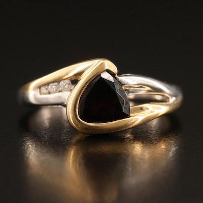 14K Two-Tone Garnet and Diamond Ring