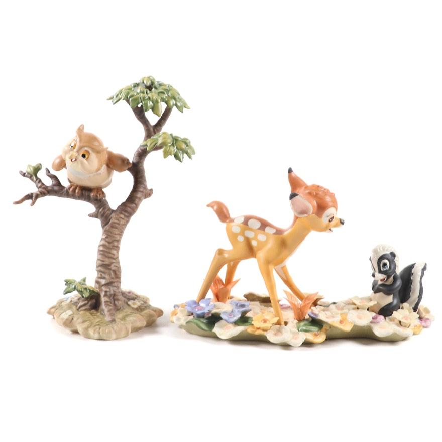 "Walt Disney ""Bambi and Flower"" and ""Friend Owl"" Porcelain Figurines"