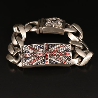 "Sterling Chrome Hearts ""Union Jack"" Link Bracelet with Garnet, Sapphire and More"