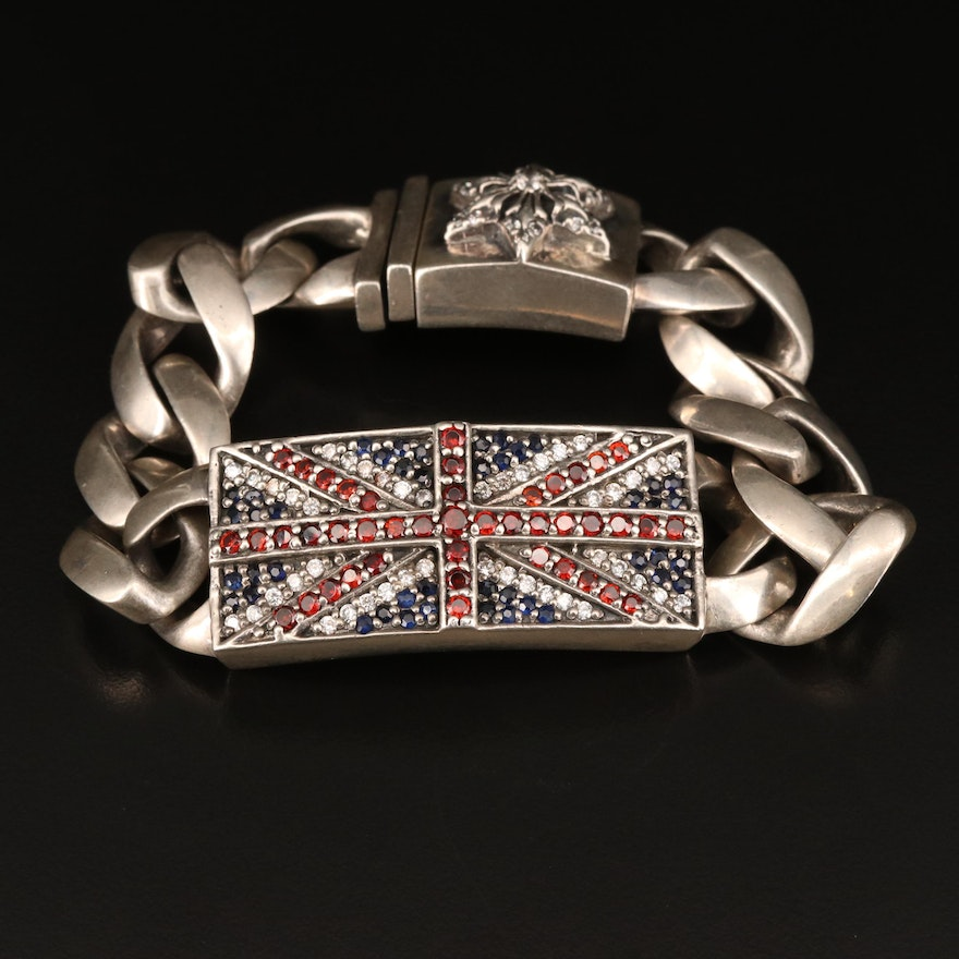 """Sterling Chrome Hearts """"Union Jack"""" Link Bracelet with Garnet, Sapphire and More"""