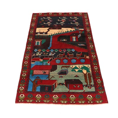 3'8 x 6'6 Hand-Knotted Persian Balouch Pictorial Rug, circa 2000