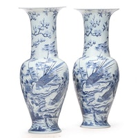 Chinese Kangxi Style Blue on Celadon Porcelain Floor Vases, Late 20th Century
