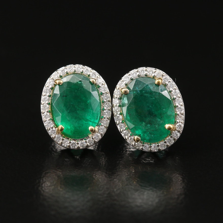 14K 2.80 CTW Emerald and Diamond Halo Stud Earrings