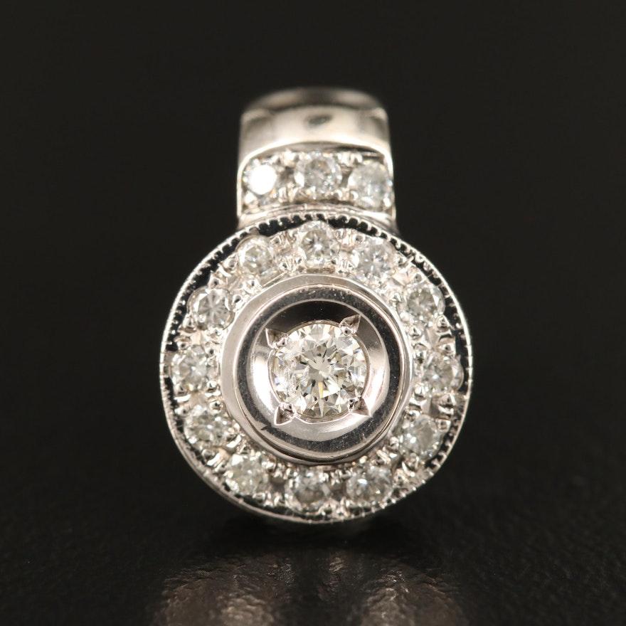 14K Diamond Halo Pendant