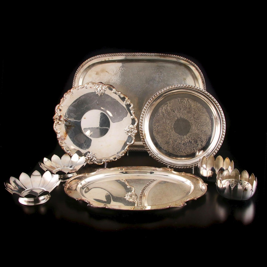 Italian Silver Plate Serveware Featuring Leonard, Mid-20th Century