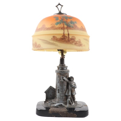 tLighthouse Lamp with Reverse Painted Glass Shade, Late 19th/Early 20th C.