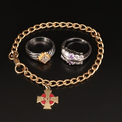 Cubic Zirconia Rings with Enamel Charm on Bracelet
