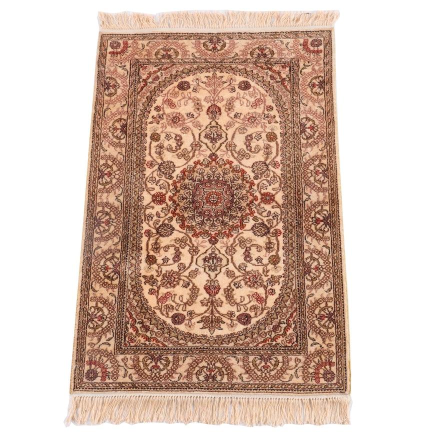 2'5 x 4'5 Hand-Knotted Persian Nain Silk Rug
