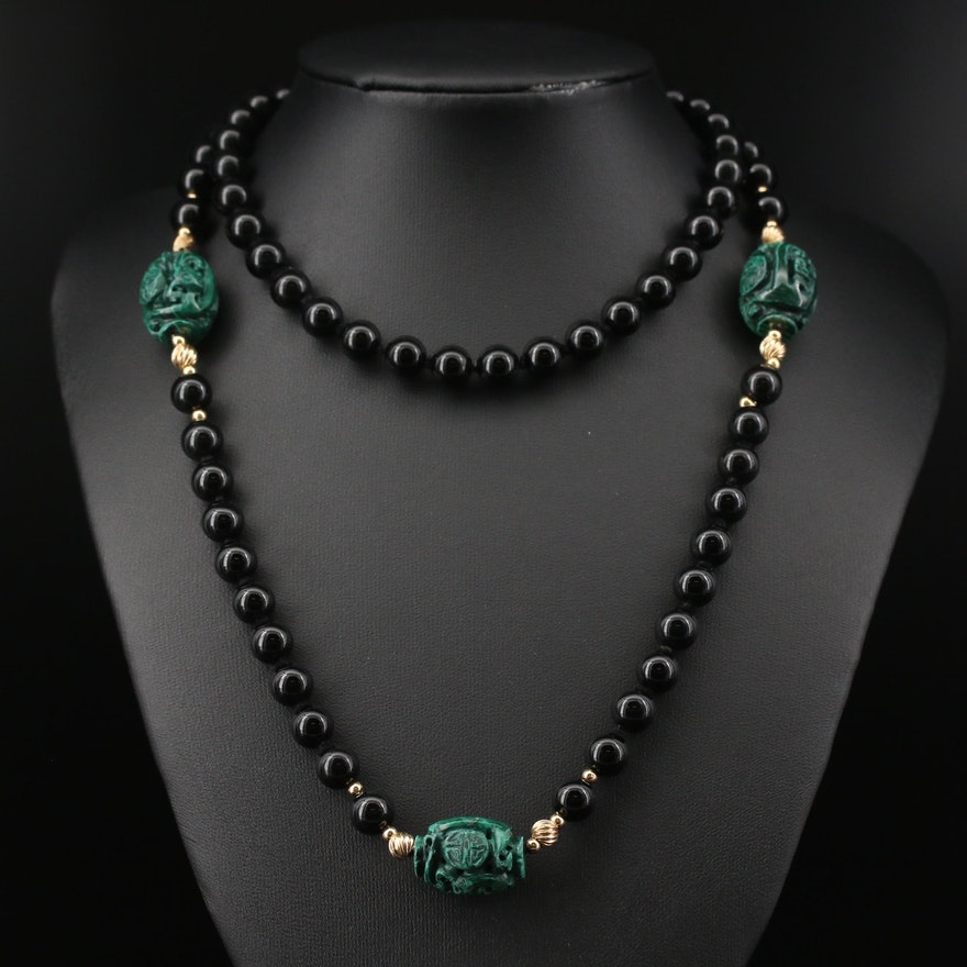 14K Malachite and Black Onyx Endless Necklace