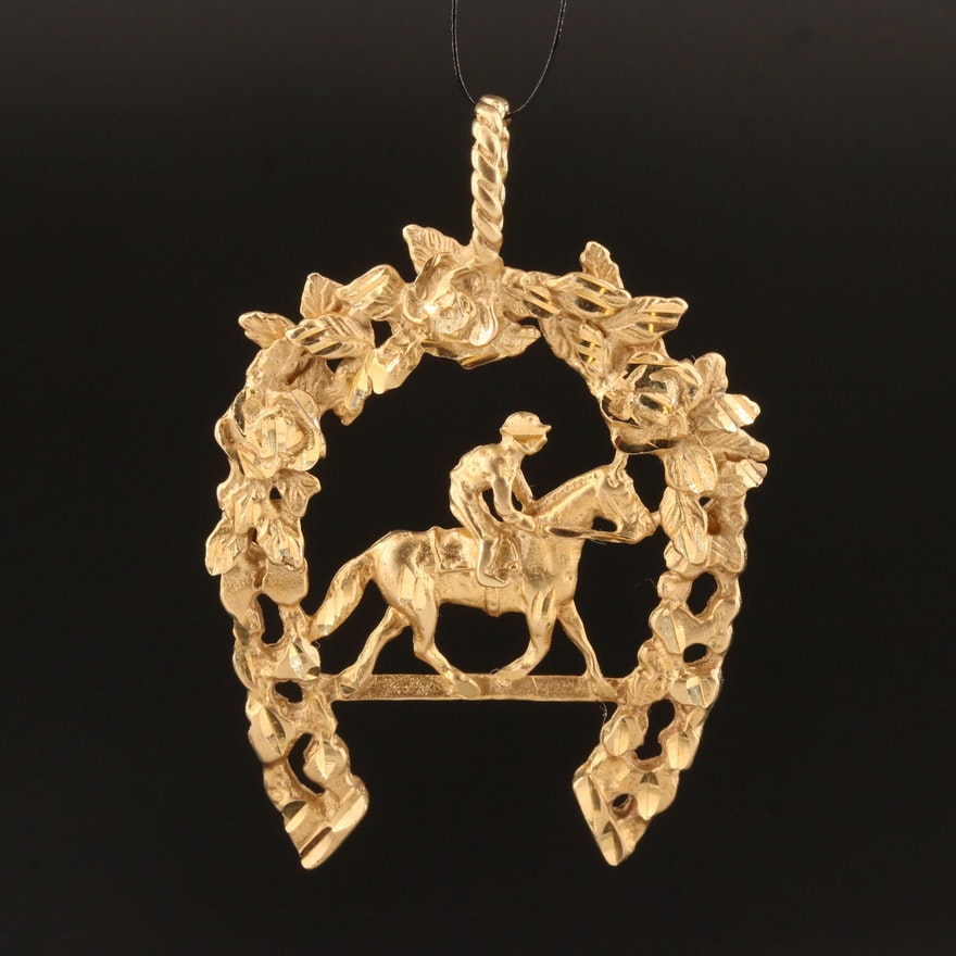 14K Equestrian Pendant