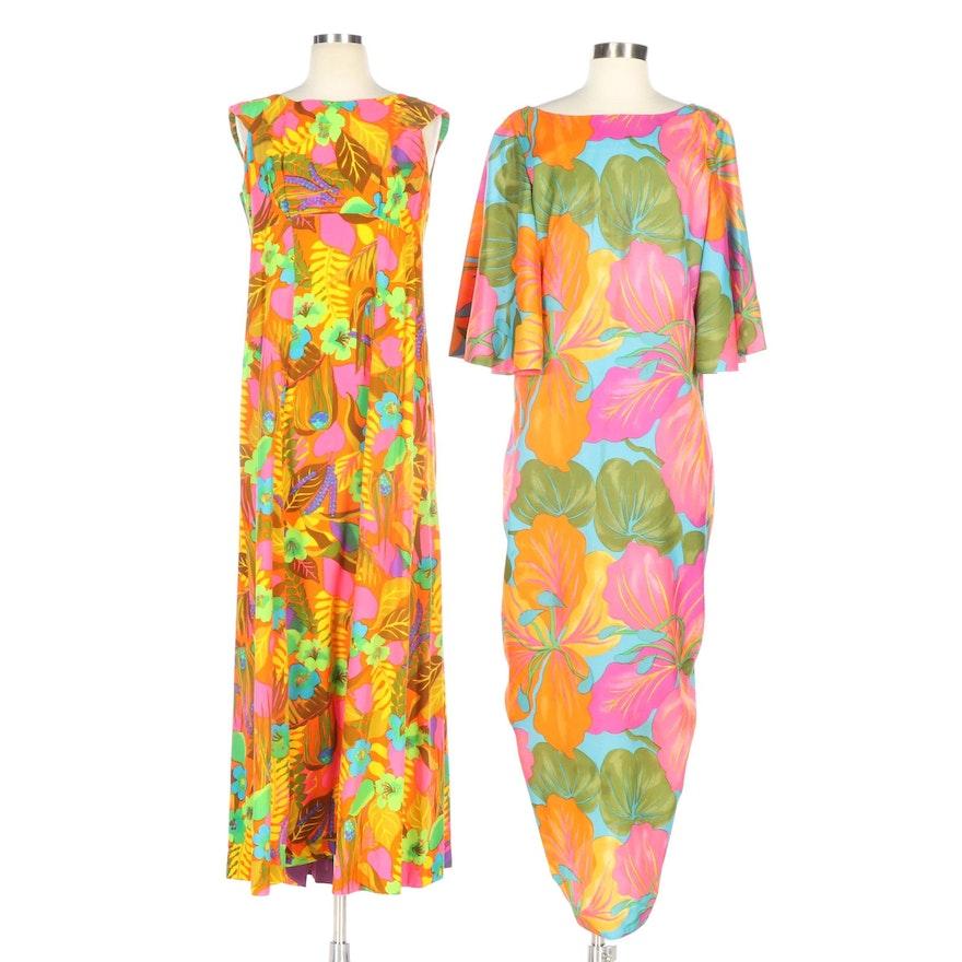 Hawaiian Multicolor Floral Print Maxi Dresses