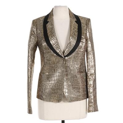 Diane von Furstenberg Ofelia Gold Metallic Blazer with Black Trim