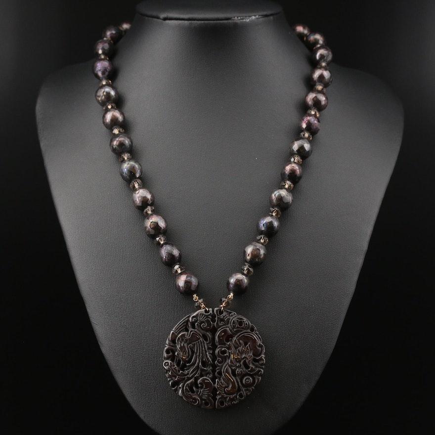 14K Serpentine, Pearls and Quartz Dragon and Phoenix Necklace