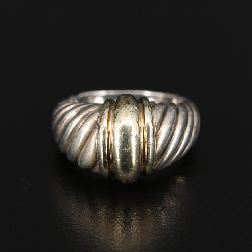 David Yurman Sterling Silver Cable Dome Ring with 14K Accent