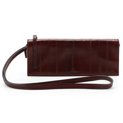 Gucci Burgundy Eel Skin Leather Clutch Bag