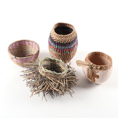 Artisan Made Embellished Gourd and Woven Baskets